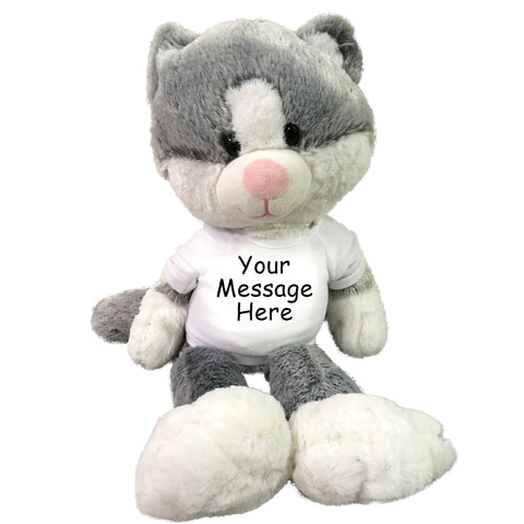 "Personalized Stuffed Cat - 16"" Fuzzy Folk Grey and White Cat"