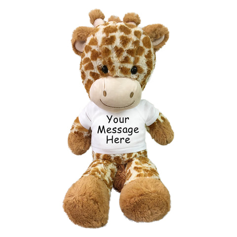 "Personalized Stuffed Giraffe - 16"" Fuzzy Folk Giraffe"