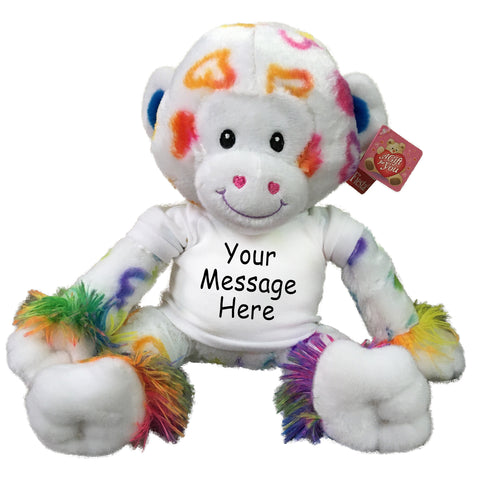 "Personalized Stuffed Monkey - 10"" Rainbow Hearts Monkey"