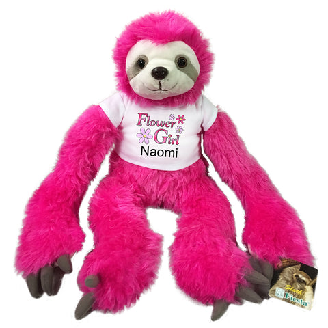 "Flower Girl Sloth -  Personalized 20"" Plush Pink Sloth"
