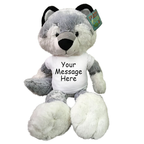 "Personalized Stuffed Wolf - 16"" Fuzzy Folk Wolf"