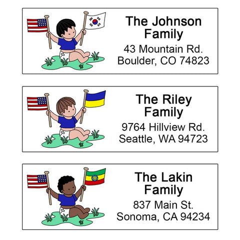 Flag Baby Boy Adoption Address Labels