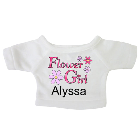 "Personalized T-Shirt for 12-14"" Teddy Bears or Stuffed Animals - Flower Girl Design"