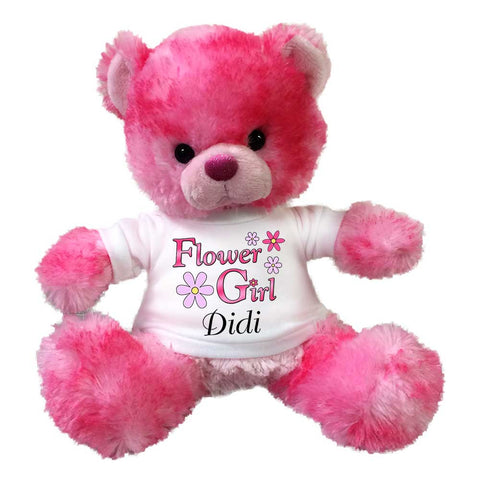 "Flower Girl Teddy Bear -  Personalized 10"" Pink CherryDrop Bear"