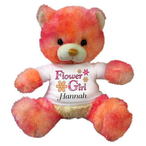 "Flower Girl Teddy Bear -  Personalized 10"" Peach Drop Bear"