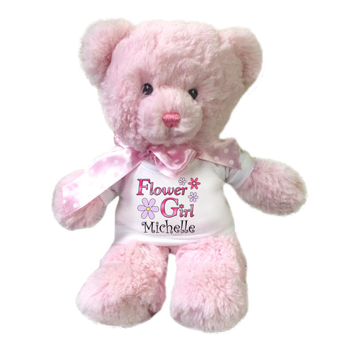 "Flower Girl Teddy Bear -  Personalized 12"" Pink Baby Bear"