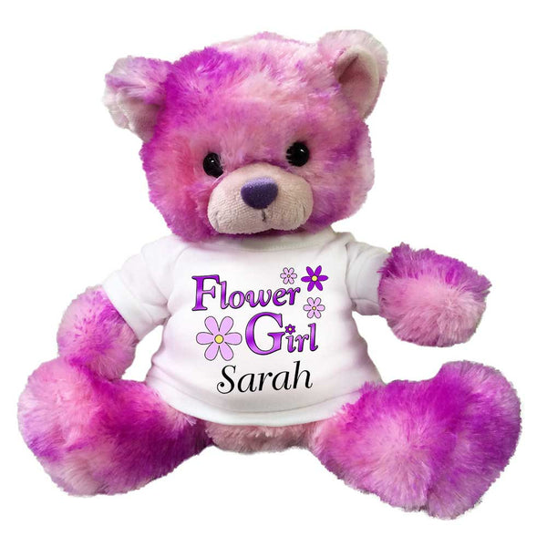 "Flower Girl Teddy Bear -  Personalized 10"" Purple and Pink BerryDrop Bear"