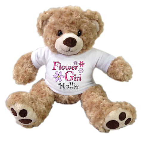 "Flower Girl Teddy Bear -  Personalized 14"" Honey Bear"