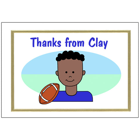 Football boy personalized thank you note cards