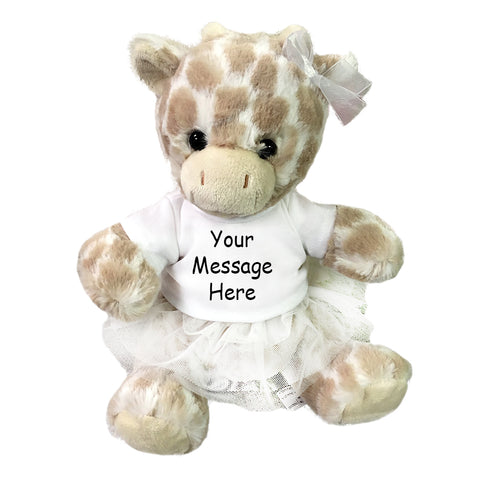 "Personalized Stuffed Giraffe - 11"" Frappe Giraffe with Tutu by Aurora Plush"
