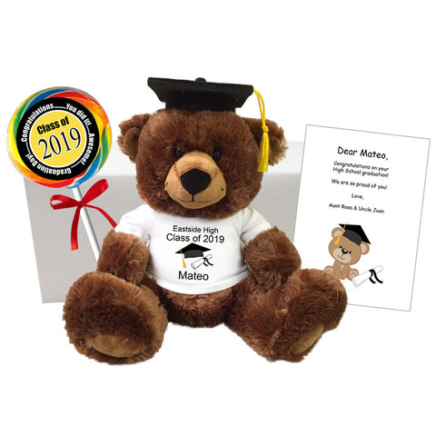 "Graduation Teddy Bear Class of 2019 Personalized Gift Set - 14"" Brown Buxley Bear"