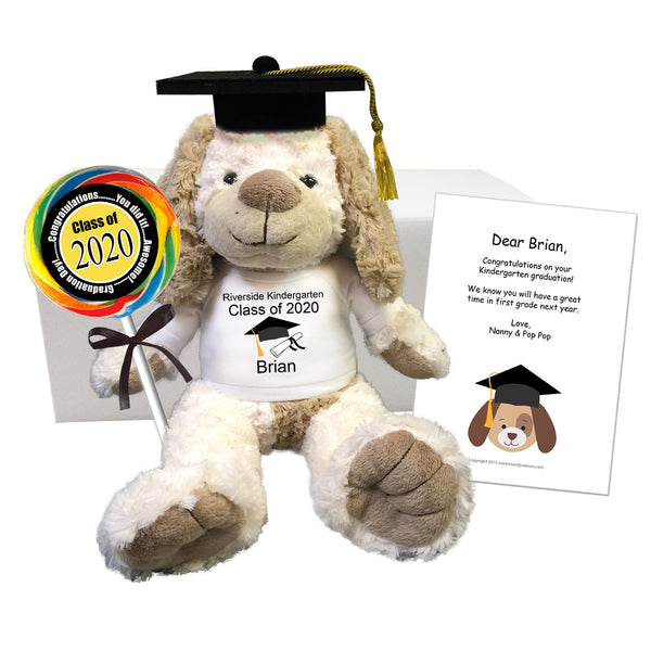"Personalized Graduation Dog Gift Set - 14"" Cream and Brown Puppy Dog"