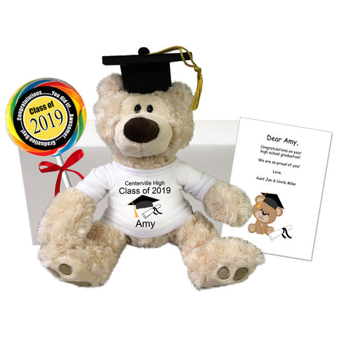 "Graduation Teddy Bear Class of 2019 Personalized Gift Set - 12"" Gund Beige Philbin Bear"