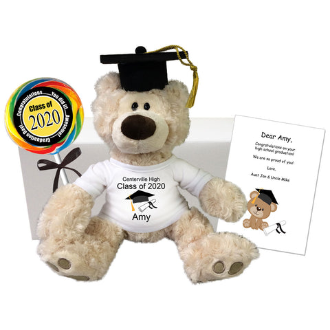 "Graduation Teddy Bear Personalized Gift Set - 12"" Gund Beige Philbin Bear"