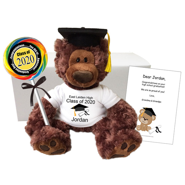 "Graduation Teddy Bear Personalized Gift Set - 12"" Gund Dark Brown Philbin Bear"