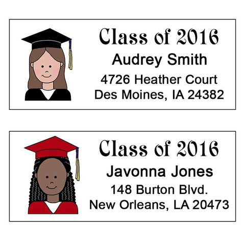 Cartoon Graduation Address Labels - Girl or Woman