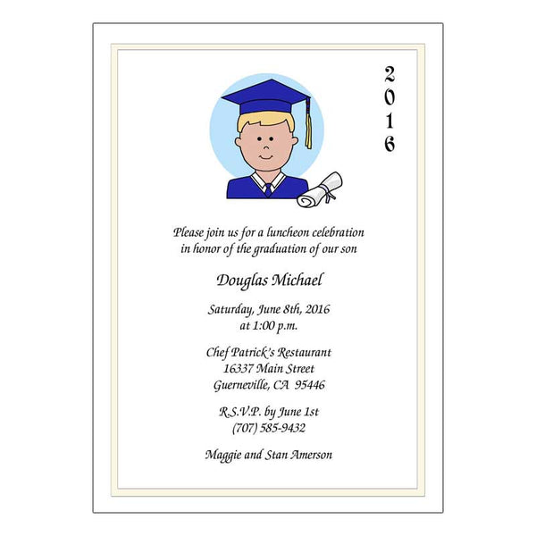 Personalized Cartoon Graduation Invitation or Announcement - Boy or Man