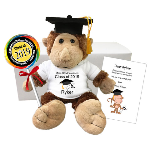 "Graduation Monkey Personalized Gift Set - 12"" Plush Monkey"