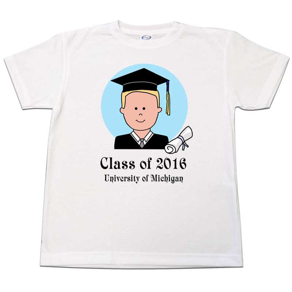 Personalized Graduation T Shirt - Cartoon Boy or Man