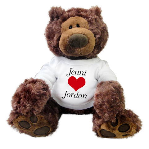 "Personalized Valentine Teddy Bear - 12"" Gund Brown Philbin Bear"