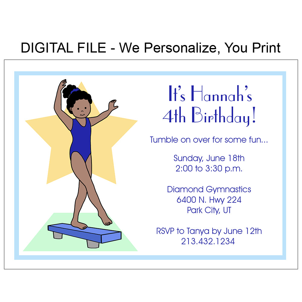 Gymnastics Birthday Party Invitation - Beam - DIGITAL FILE – Mandys ...