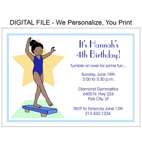 Gymnastics Birthday Party Invitation - Beam - DIGITAL FILE