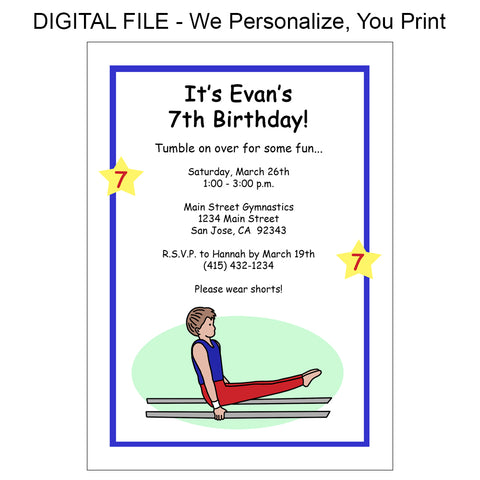 Gymnastics Birthday Party Invitation - Boy - DIGITAL FILE