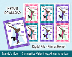 Gymnastics Valentine Cards, Handstand Design - African American - Digital Print at Home Valentines cards, Instant Download