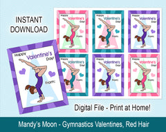 Gymnastics Valentine Cards, Handstand Design - Red Hair - Digital Print at Home Valentines cards, Instant Download