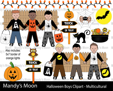 Halloween Boys Clipart Set - Multicultural Boys (Personal & Nonprofit Use only)
