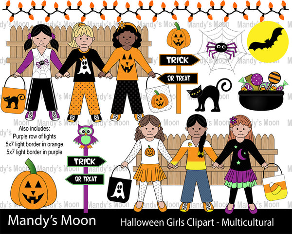 Halloween Girls Clipart Set - Multicultural Girls (Personal & Nonprofit Use only)