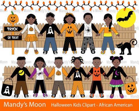 Halloween Kids Clipart Set - African American Kids (Personal & Nonprofit Use only)
