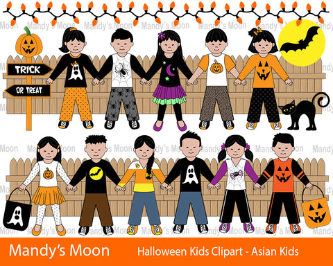 Halloween Kids Clipart Set - Asian Kids (Personal & Nonprofit Use only)