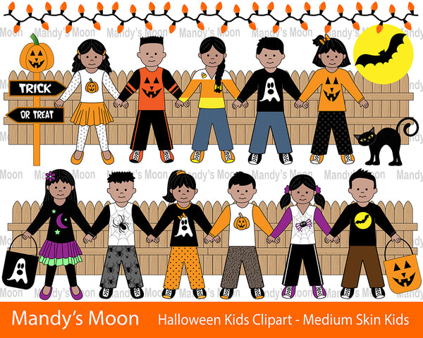 Halloween Kids Clipart Set - Medium Skin (Personal & Nonprofit Use only)