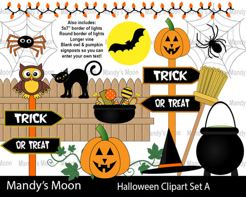 Halloween Clipart Set A (Personal & Nonprofit Use only)