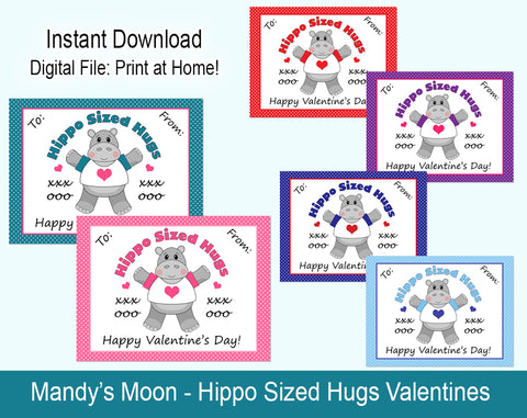 Hippo Sized Hugs Valentine Cards - Digital Print at Home Valentines cards, Instant Download