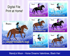 Horse Dreams Valentine Cards - Black Hair -  Digital Print at Home Valentines cards, Instant Download
