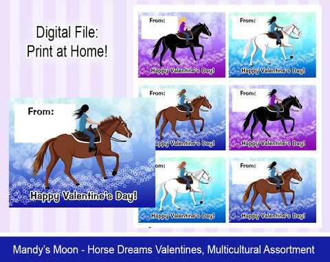 Horse Dreams Valentine Cards - Multicultural Assortment- Digital Print at Home Valentines cards, Instant Download