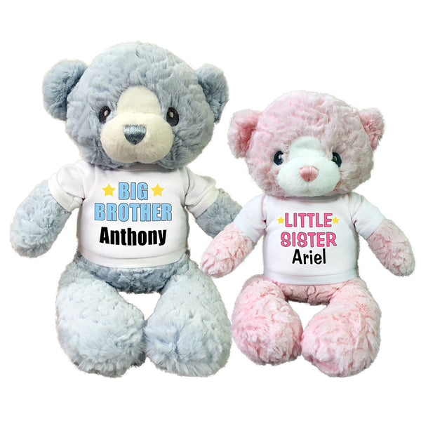 "Big Brother / Little Sister Personalized Teddy Bears - Set of 2 Huggy Bears, 13"" blue and 11"" pink"