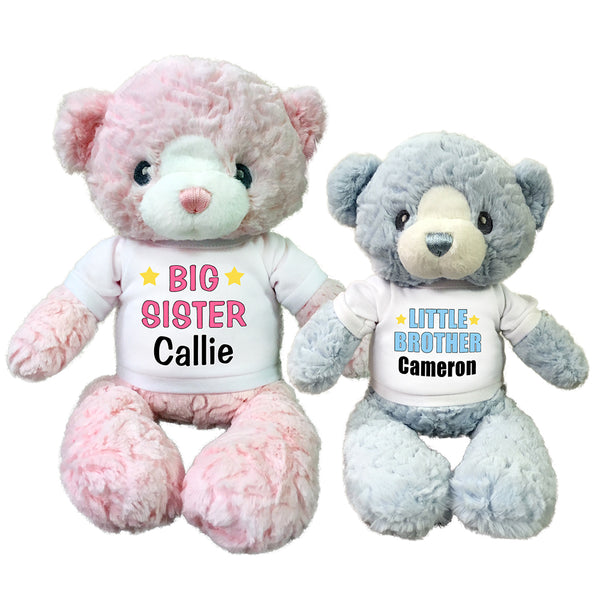 "Big Sister / Little Brother Personalized Teddy Bears - Set of 2 Huggy Bears - 13"" pink and 11"" blue"
