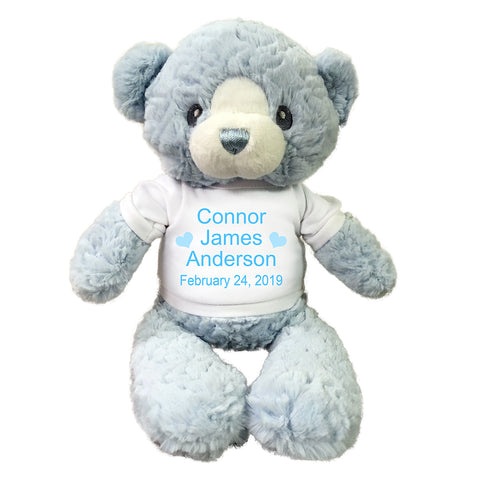 "Personalized Teddy Bear for Baby Boy- 15"" Blue Huggy Bear, Ebba Baby Collection"