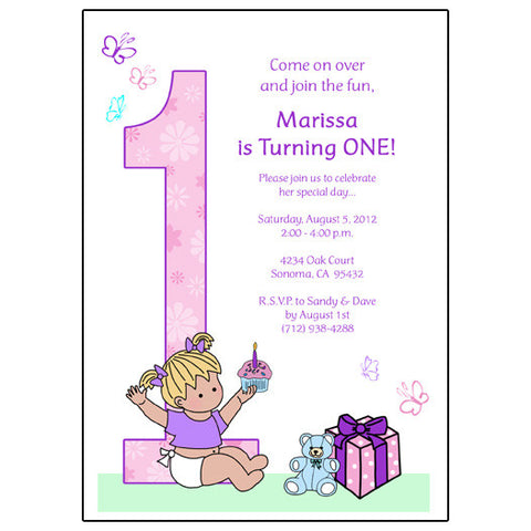 Babys 1st Birthday Party Invitation - Girl