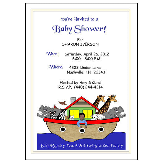 Noah's Ark Baby Boy Shower Invitation