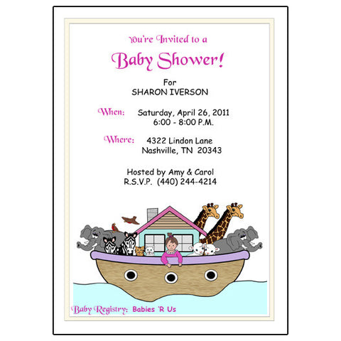 Noah's Ark Baby Girl Shower Invitation