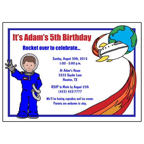 Outer Space Birthday Party Invitation