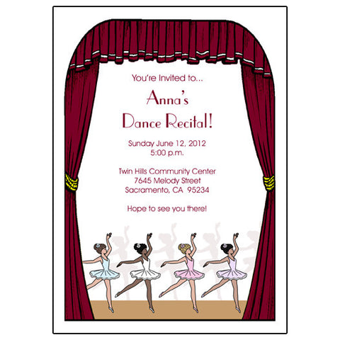 Ballet or Dance recital invitation - Center Stage