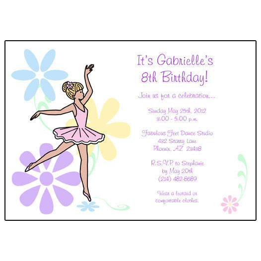 Ballet or Dance Birthday Party Invitation - Dainty Floral Ballerina