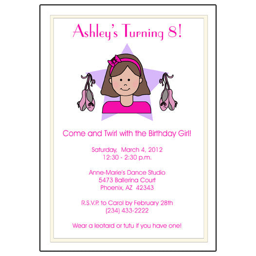 Ballet Or Dance Kid Birthday Party Invitation Mandys Moon Personalized Gifts