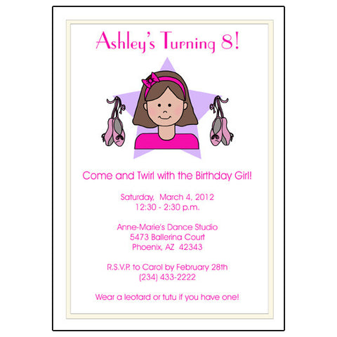 Ballet or Dance Kid Birthday Party Invitation