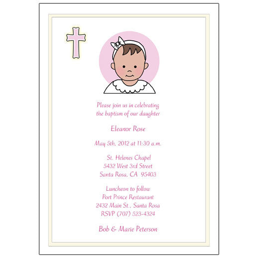 ee7cc57402a Baptism or Christening Invitation - Baby Girl – Mandys Moon ...